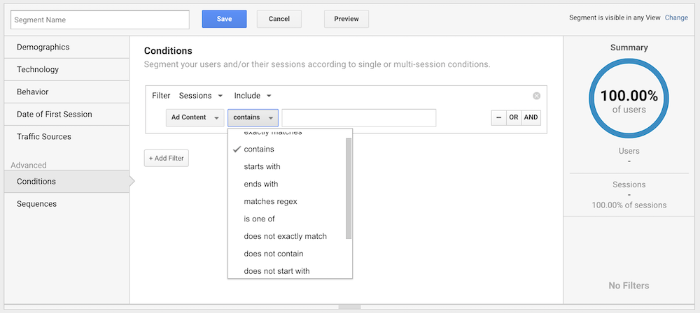 Setting a conditions-based segment in Google Analytics.