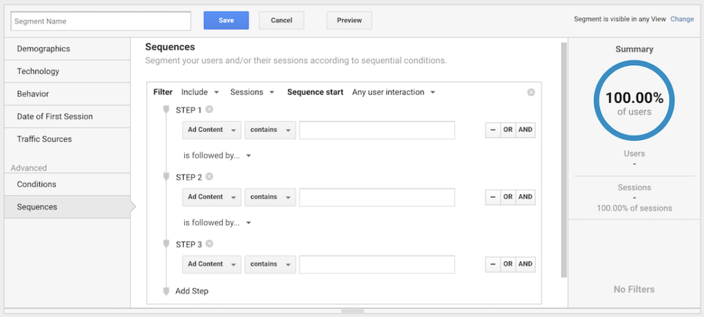 Setting a sequence of events as an advanced segment in Google Analytics.