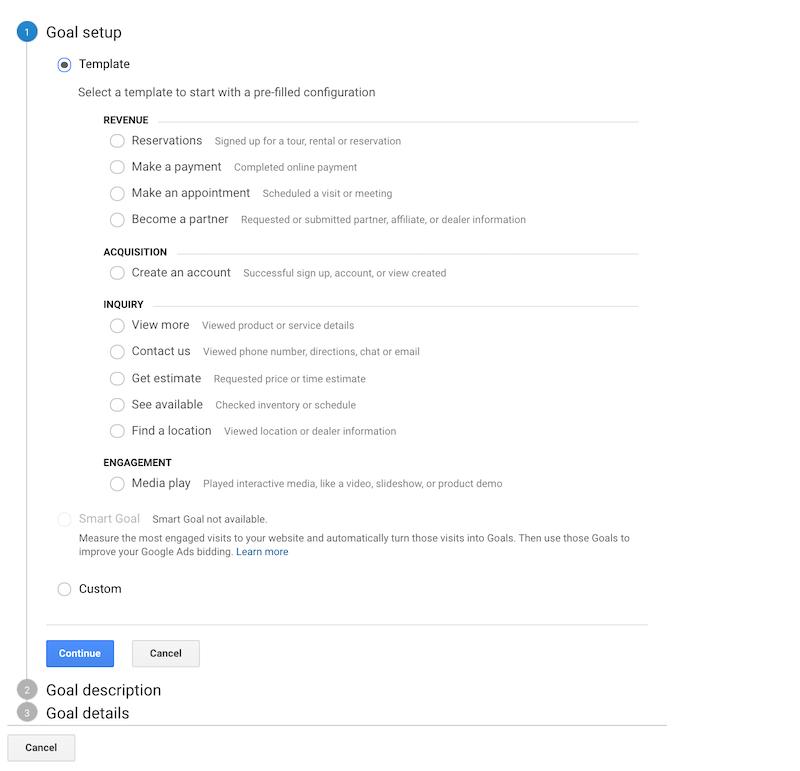 Goal setup on Google Analytics.