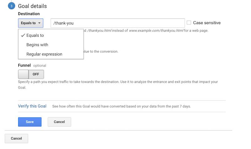 Goal destination on Google Analytics.