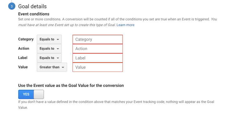 Event conditions for a goal on Google Analytics.