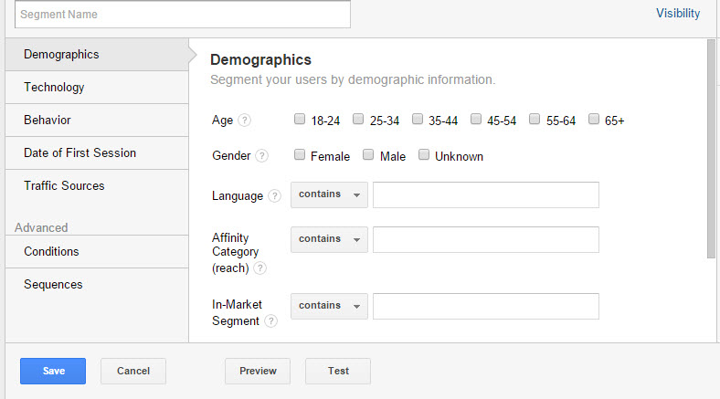 Custom Segment creator highlighting Demographics options