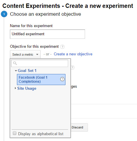 Choosing Goals for Google Content Experiments