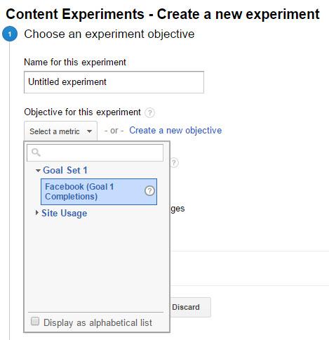 Choosing Goals for Google Content Experiments