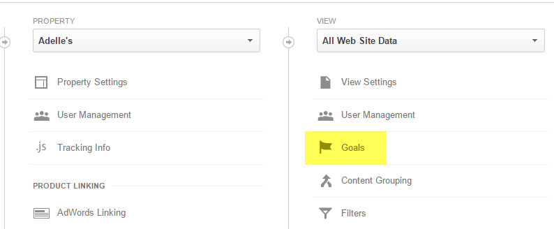 Goal setup step 1: go into Admin area and select Goals sub menu.