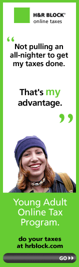 example of overuse of stock photo of woman in hr block banner ad.