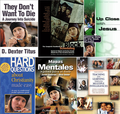 example of several study materials all using the same stock photo.