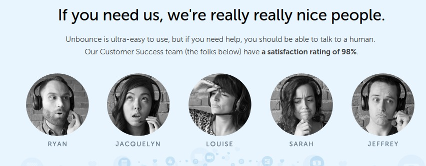 I love Unbounce's customer service section on their homepage