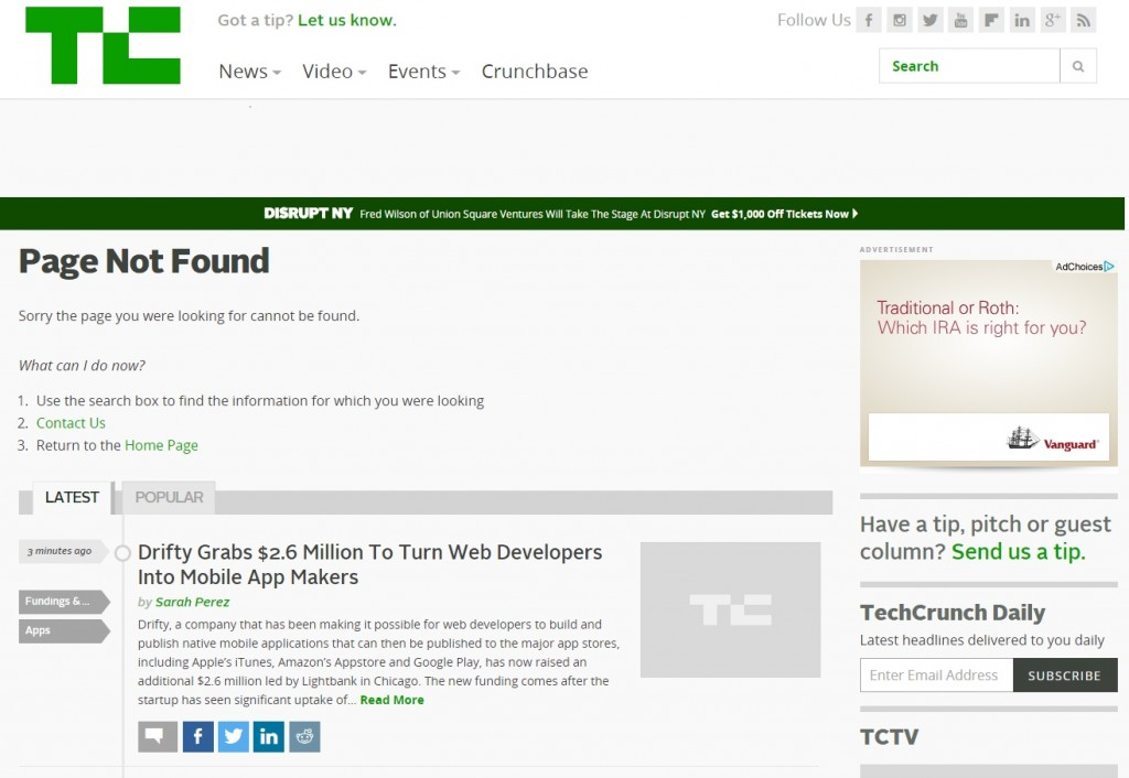 techcrunch 404 page with helpful search feature and content.