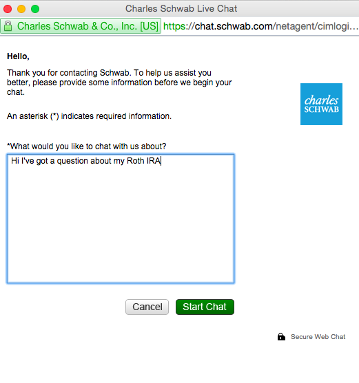 Charles Schwab and live chat