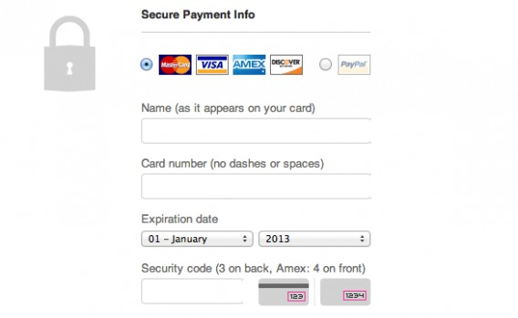 threadless credit card form