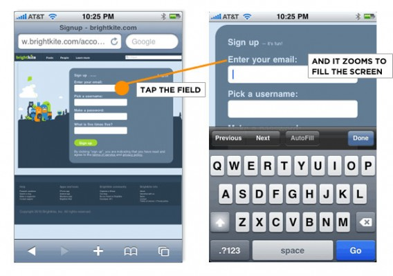 mobile inputs forms