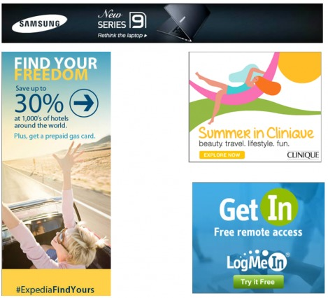 Examples of good colors on banner ads.