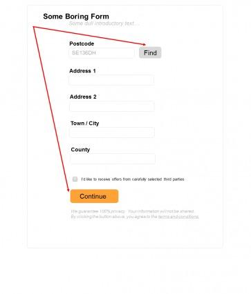postcode form continue