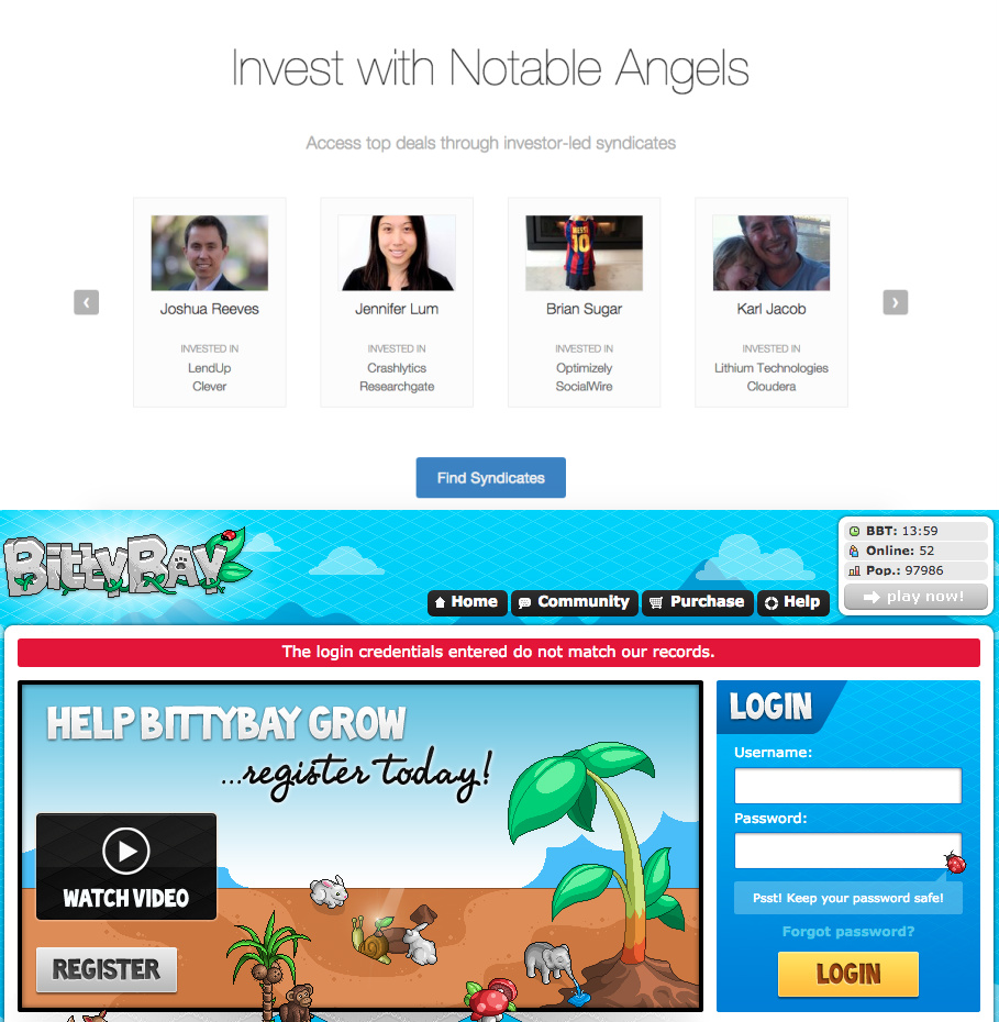 Activity social proof from AngelList and BittyBay.