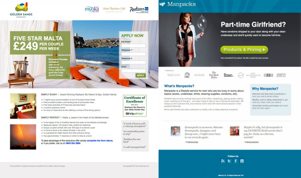 Manpacks and Golden Sands landing page testimonial comparison.