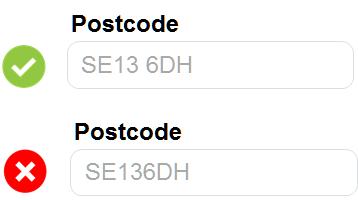 Postcode form