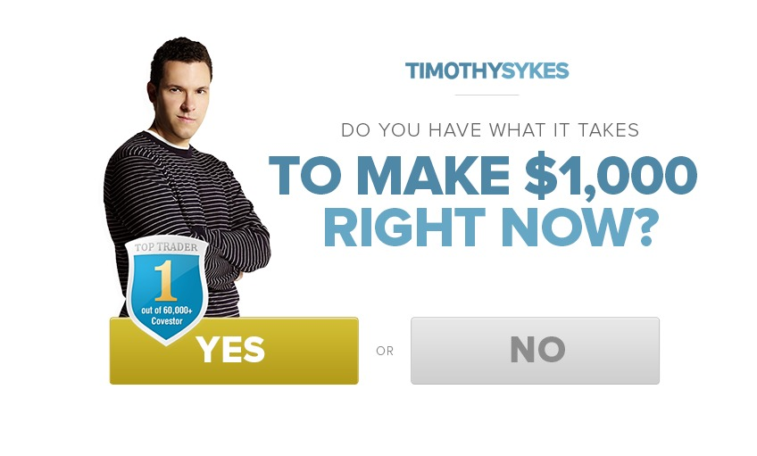 Timothy Sykes popup.
