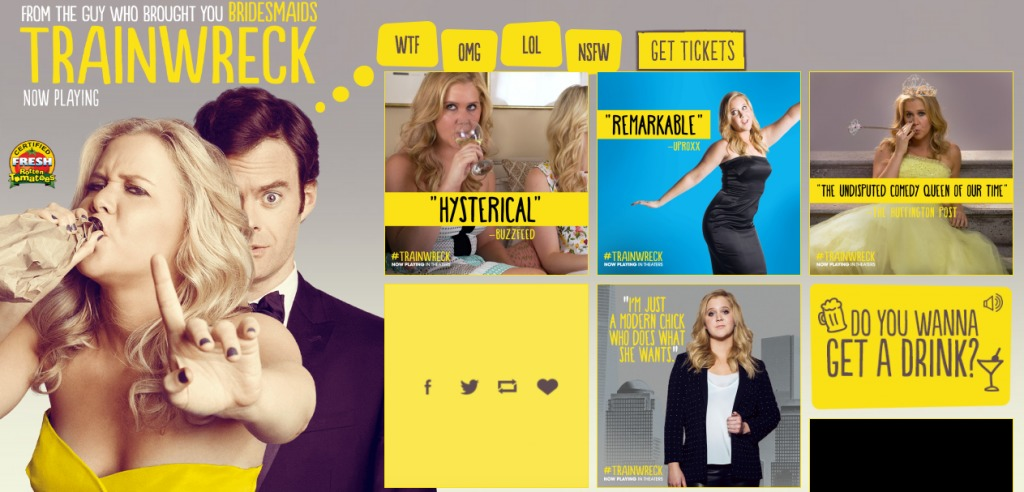 Trainwreck movie trust icons as social proof.