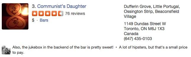 Yelp Reviews as social proof.