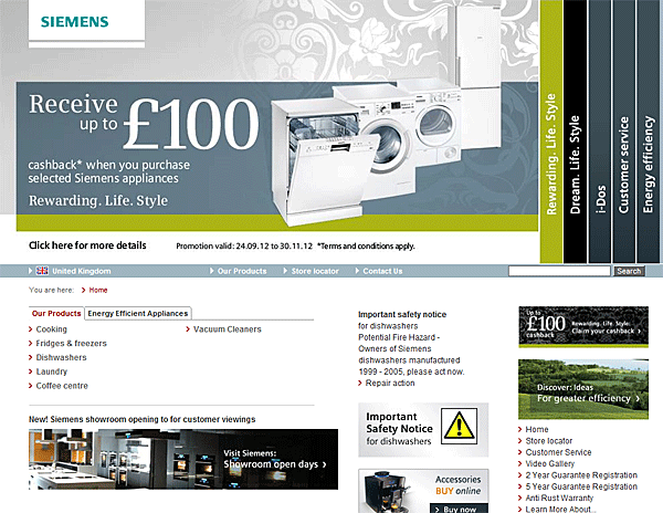 In a usability study, not a single user was able to find any information about appliance promotions on this site—despite the large, central promotion box. A significant contributing factor? The fancy formatting of the text made it look like an ad; it was filtered out subconsciously. Source: Nielsen.
