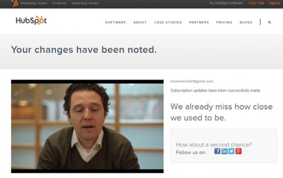 HubSpot's Unsubscribe Page