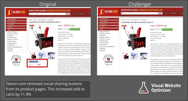 case study suggesting that removing social share buttons improves conversions.