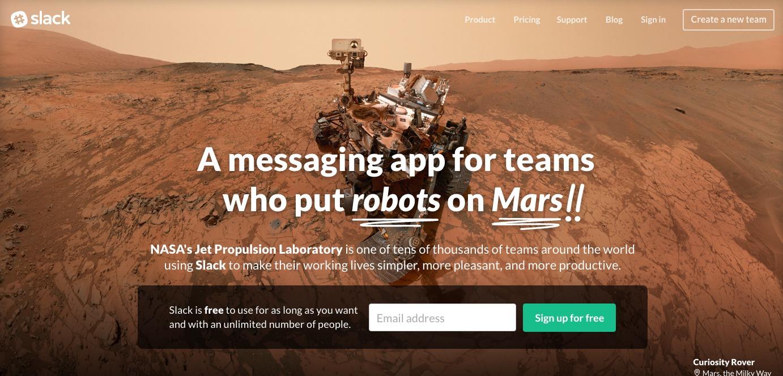 Slack Mars landing page.