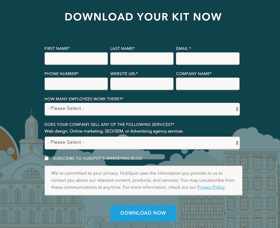 HubSpot's lead generation form with eight fields.