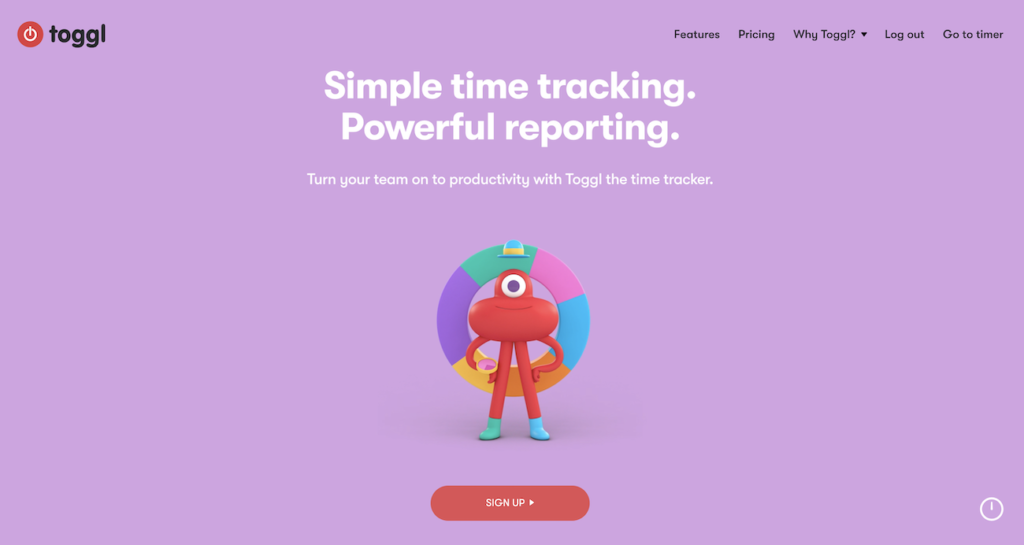 Toggl homepage.