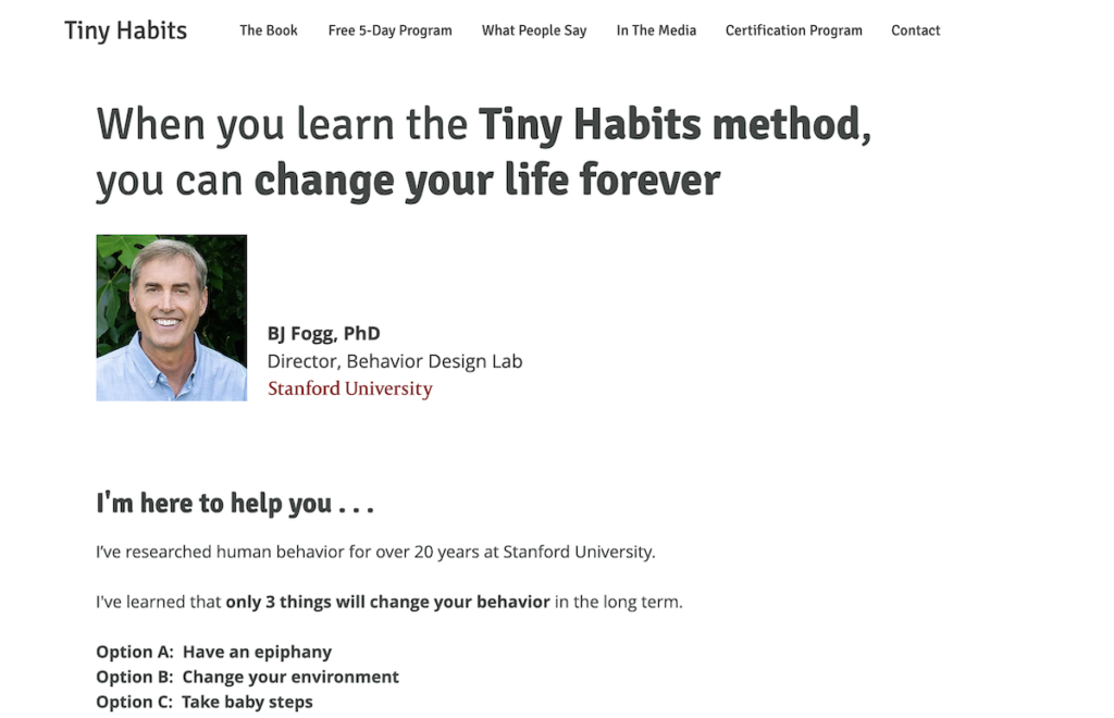 Tiny Habits homepage.
