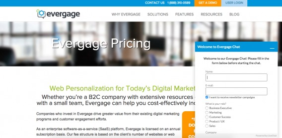 Evergage Live Chat