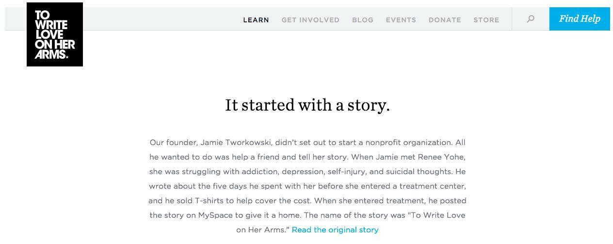 TWLOHA emotional storytelling on homepage.