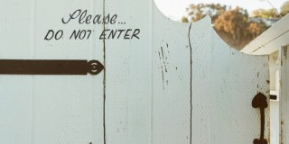 typography white door fence