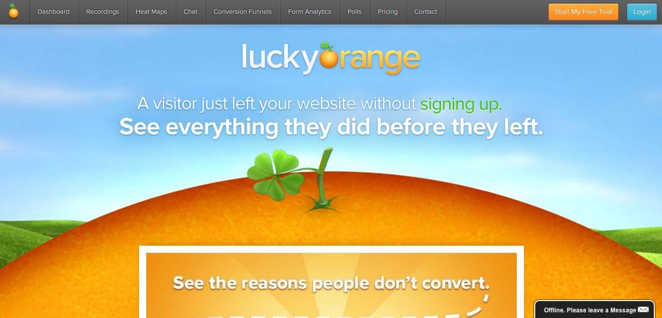 lucky orange homepage.