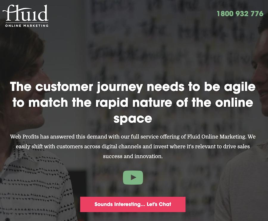 Fluid Online Marketing landing page.