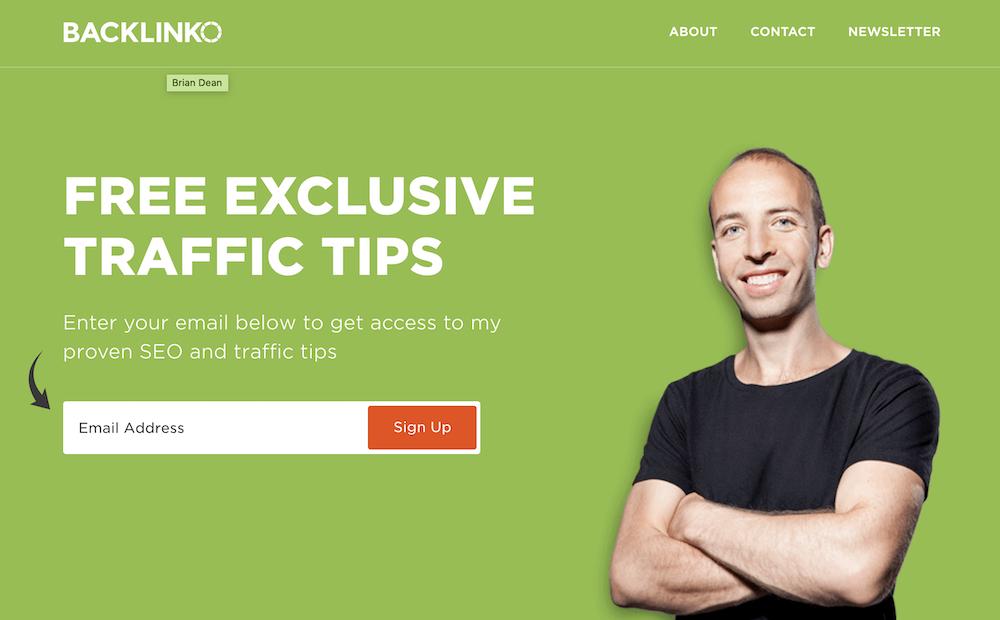 Backlinko homepage.