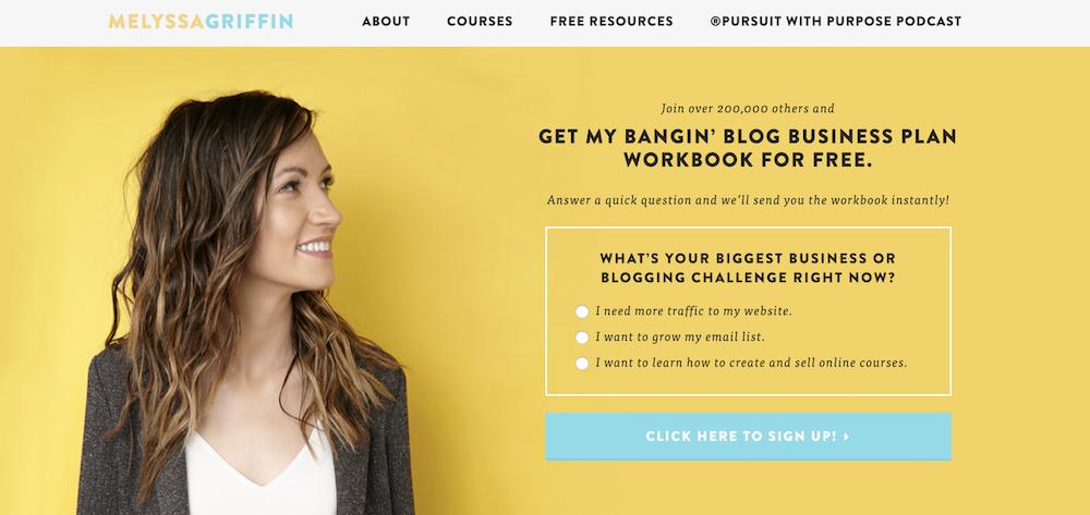 Melyssa Griffin homepage.