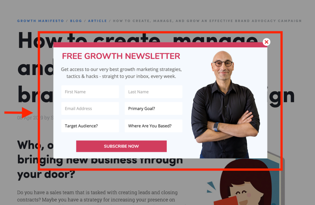 Web Profits byline opt-in and popup.