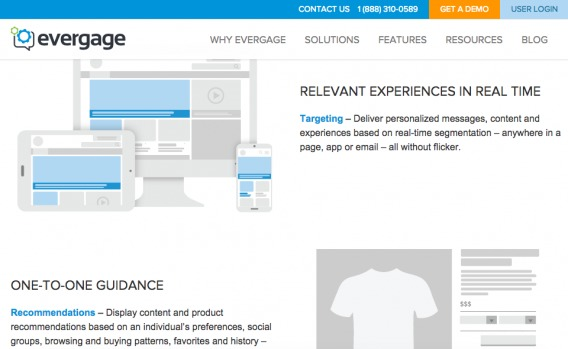 Evergage Landing Page
