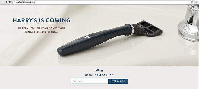 Harry's pre-sales page.