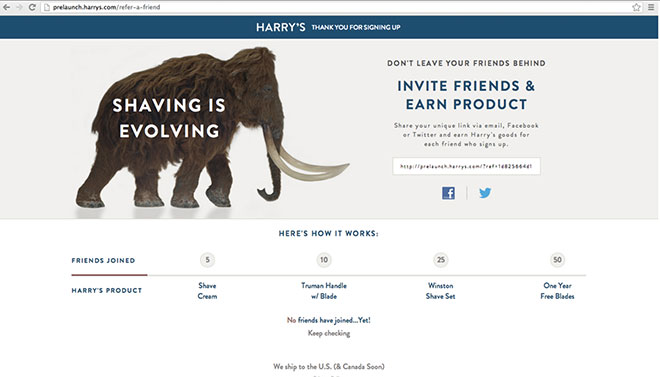 Harry's referral page.