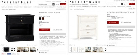 Example of PotteryBarn product descriptions.