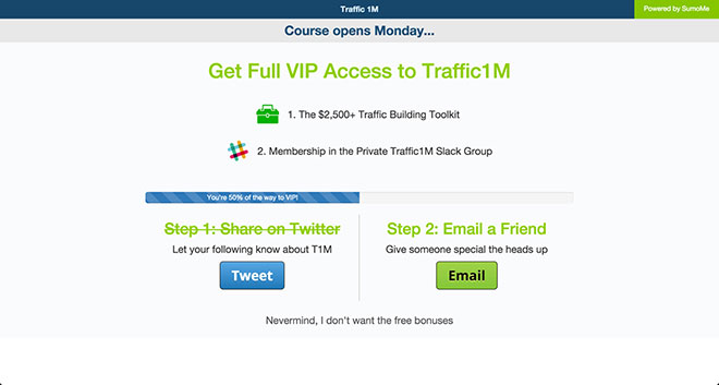 Traffic 1M thank you page.