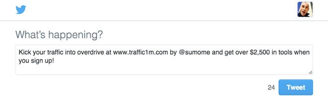 Traffic 1M promo tweet.