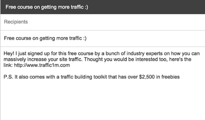 Traffic 1M promo email.