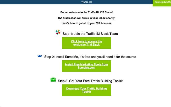 Traffic 1M VIP circle landing page.