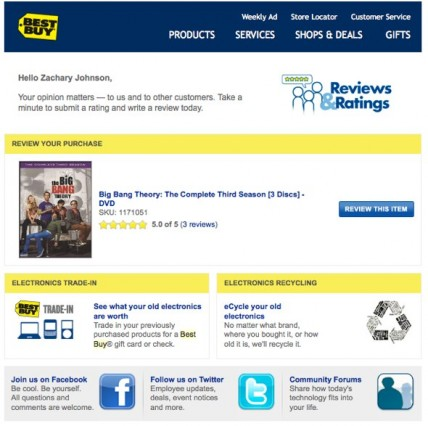 BestBuy Post-Purchase Email