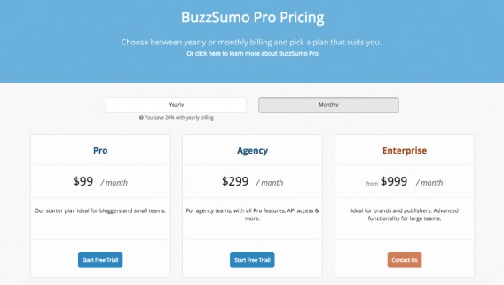 BuzzSumo Pricing