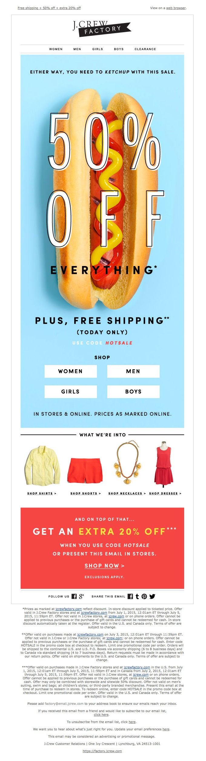 example of a good ecommerce email.